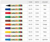 Artline 70 Pens EK-70 Showing 10 Colour choices