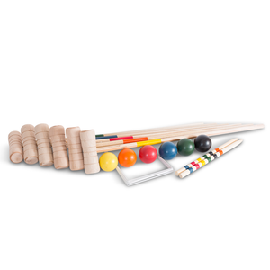 Here we can see Bex's 6 Mallet Family Croquet Set outside of its box and ready for a great outdoor game of Croquet. This game is well suited for family and friends to play this summer in the garden. Free Shipping in provided by Novel Idea Online on all Orders.