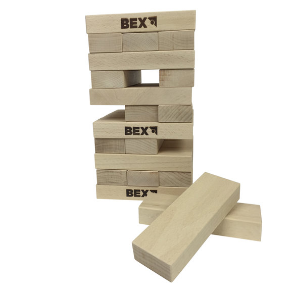Here we can see the Bex Giant Tower Game, similar in design to the famous game Jenga, but of a much higher qualiy. A great family game for the summer, fun for children and adults of all ages. Available at Novel Idea Online. Free Shipping on all Orders.