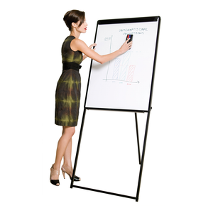 A woman using the Classic Magnetic Footbar Easel. Available on Novel Idea Online, free shipping and great customer service guaranteed.