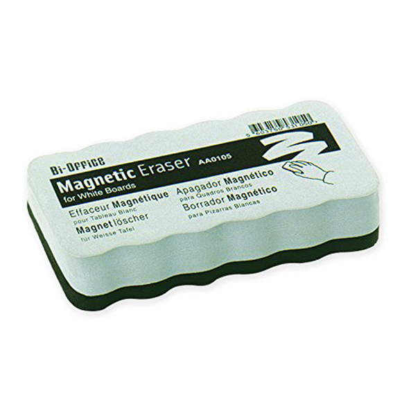 An image displaying the Bi-Office Light Weight Magnetic Eraser. It shows the ergonomic shape of the eraser with its black and white colouring.