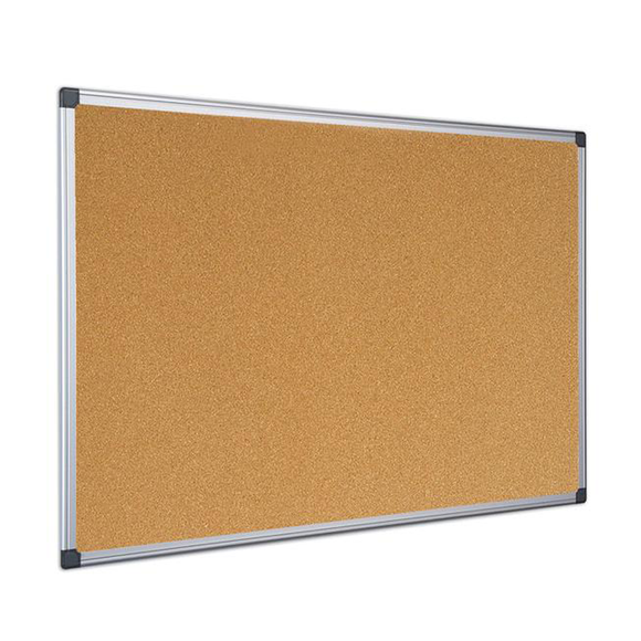 This image shows the sustainable Bi-Office, Earth-It Range, Maya Cork Board in its Aluminium Frame.