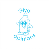 This cute looking high lighter pen stamps in light blue alongside the message: Give Opinions. Available at Novel Idea Online. Free UK Shipping.