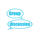 "A light blue teacher stamp that imprints the message ""Group Discussion."" Available at Novel Idea Online. Free UK Shipping"