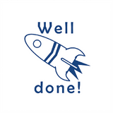 "This stamp imprints in blue and is of a rocket taking off. It's a brilliant motivational teacher stamp that features the text ""Well done!"" Free UK Shipping. Available at Novel Idea Online."