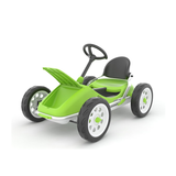 This Lime Green variant of the Monzi Go-Kart is demonstrating how much storage space is available in the Go-Karts Trunk. Not enough space to store a younger sibling though luckily! Available at Novel Idea Online. Free Shipping on all UK Orders.