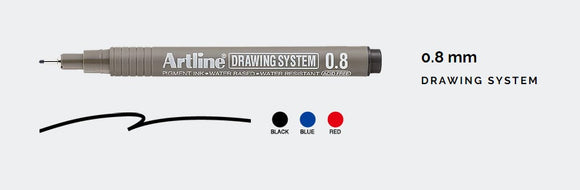 Artline 0.8mm Drawing System - (Pack of 12) - 3 Colours
