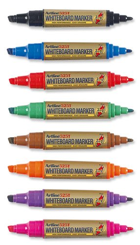 Artline 2-in-1 Whiteboard Marker Bullet Line 2mm Chisel Line 3-5mm Asst Pk8 EK-525T