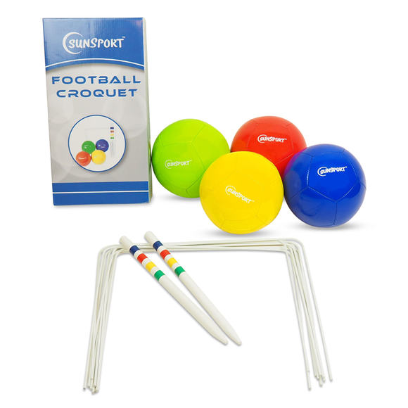 An image illustrating the box art as well as the product itself. We can see the Football Croquet Set nicely laid out. Perfect for family gatherings, friends having fun and even schools and other facilities working with children. Available at Novel Idea Online. Free Shipping on all Orders.