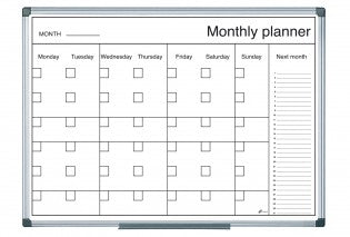 Magnetic Black and White Month Planner 600x900mm