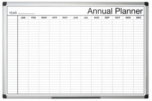 Magnetic Black and White Annual Planner 900x600mm Aluminium Frame