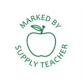 This Teacher Stamp imprint in green and features the image of an apple, alongside the text: Marked By Supply Teacher. Available at Novel Idea Online. Free UK Shipping.