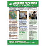 Health and Safet Posters - Accident Reporting, What You Should Know! A sign suitable for many workplaces, it is also often a legal requirement to display relevant regulation information in some industries. Available at Novel Idea Online. Free Shipping.