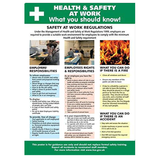 Health and Safety Poster - Health and Safety At Work, What you should know! In many workplaces it is important to have visible information regarding health and safety now. Depending on your line of work it may also now be a legal requirement. Available at Novel Idea Online. Free Shipping on all Orders.