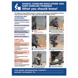 Health and Safety Poster - Manual Handling Regulations, Good Handling Technique, What you should know! This is useful for companies that deal with the transporting of heavy good and shipping. It is now a legal requirement in many workplaces that health and safety information is visible. Available at Novel Idea Online. Free Shipping on all Orders.