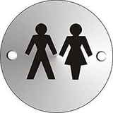 The universal male and female iconography are displayed on this circular door sign. This circular door sign can be used in numerous work place environments and can be used to mark out gender neutral toilet facilities in officers, warehouses, shops, shopping centres and many other places of work. Novel Idea Online offer Free Shipping on all Orders.