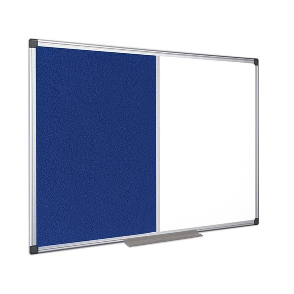This graphic displays the Maya Felt and Whiteboard combination Board with blue felt Notice Board, available in Blue or Grey.