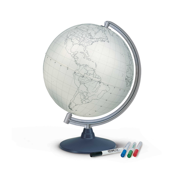 A display image of the Nova Rico Blank Educational Globe, Include 4 Coloured Fibre Tip Pens (30cm). Free Shipping on all orders.