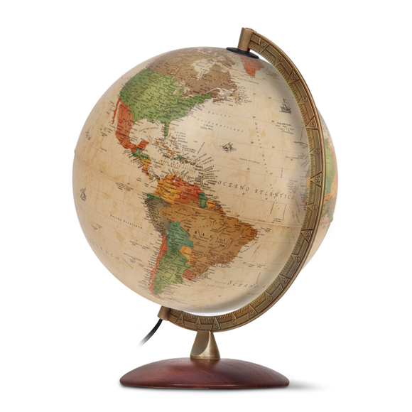 A display image of the Nova Rico, Illuminated Antiquus Globe (30cm). Available at Novel Idea Online. Free Shipping on all Orders.
