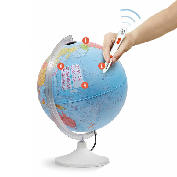 A diagram of how the Nova Rico Parlamondo Interactive Globe functions. Fantastic for teaching children and adults alike about the wonderful world we live in. Available at Novel Idea Online, Free Shipping on all orders.