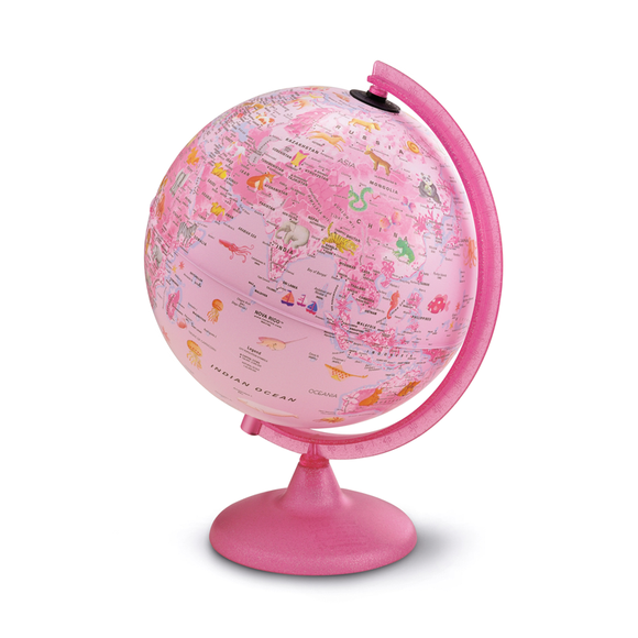 The illuminated Pink Zoo Globe (25cm) Manufactured by Nova Rico. Fantastic for Young children and girls. Available at Novel Idea Online. Free Shipping on all Orders.