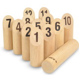 Here we can see an image of Bex's Kubb (Numbered Variation). Play the Viking game with numbers! Great fun for all the family and adults and children of all ages. Available at Novel Idea Online. Free Shipping on all Orders.