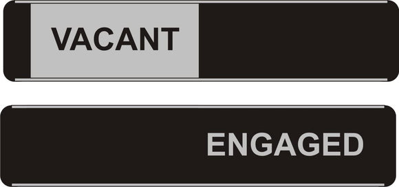 Sliding Door Sign - Vacant/Engaged - Width 255mm x Height 52mm, Aluminium and PVC (OF142)