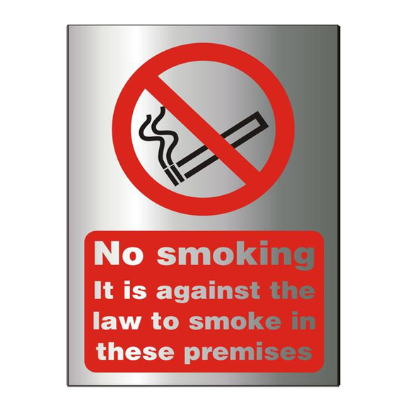 This sign reads: No Smoking It is against the law to smoke in these premises. Perfect for offices, schools, cafes, shops, kitchens and anywhere where smoking is prohibitted. Available at Novel Idea Online. Free Shipping on all Orders.