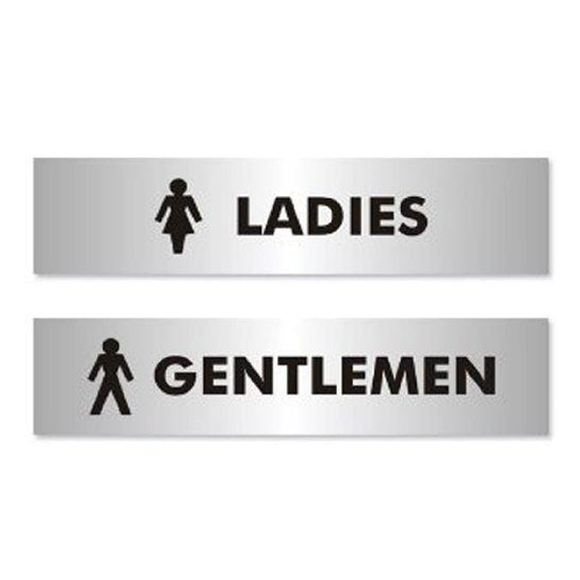 Stewart Superior's Office Information Sign displaying the language and iconography of 'Ladies' and 'Gentlemen'. Suitable for any areas in the workplace or office that are required to be gender specific. Novel Idea Online offers Free Shipping on all Orders.