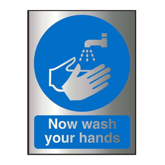This Office Sign features the text 'Now wash your hands'. Perfect for organizations that need to maintain strict hygiene standards. Suitable for toilets, offices, schools, laboratories, food preperation areas, cafes etc. Free Shipping on all Orders.