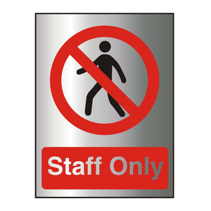 This Office Information Sign features the Text Staff Only as well as a red crossed circle and the iconography of a walking man. Suitable for workplaces that need to restrict access to customers such as offices, warehouses, kitchens and many more. Available at Novel Idea Online. Free Shipping on all Orders.