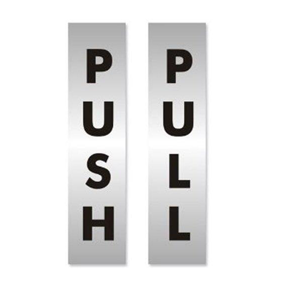 The text for these Office Information Signs reads: 'Push' and 'Pull' and are suitable for use on doors around offices, schools, shops, cafes, restraunts and warehouses. Available at Novel Idea Online. Free Shipping on all orders.