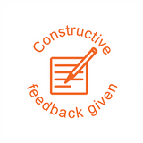 "This motivational teacher stamper imprints the image of a pen and paper alongside the text ""Constructive Feedback Given."" Available at Novel Idea Online. Free UK Shipping."