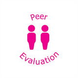 "Two Pink Pupils are illustrated on the imprint of this bright pink teacher stamp. Available at Novel Idea Online. The text reads ""Peer Evaluation."" Free UK Shipping on all orders."