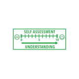 An example of the print imprinted by the Teacher Stamp - Pupil Self-Assessment Graph. Works well in class rooms, schools and with teachers. Perfect for helping children achieve higher grades. Great value for money. Free Shipping on all orders.