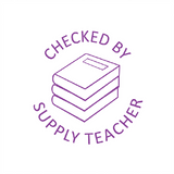 "This Motivational Teacher Stamp imprints in violet or Purple the image of a stack of books alongside the message ""Checked by Supply Teacher."" Available at Novel Idea Online. Free UK Shipping."