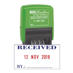 This is Colop's Printer S 260/L with its PAID imprint. As we can see the phrase is in Blue, the date is in Red and the By for signatures to be written is also in Blue. Available at Novel Idea Online. Free Shipping on all UK orders. Great for Office and Administrative Work.