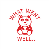 "This cute panda stamp prints in Red alongside the text: ""What Went Well..."" Available at Novel Idea Online. Free UK Shipping."