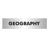 A aluminium office door sign to mark out a Geography classroom in a school or other educational facility. Available at Novel Idea Online. Free Shipping on all orders.