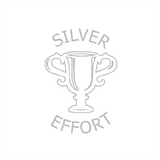 "This motivational teacher stamp imprint an image of a silver trophy alongside the text: ""Silver Effort."" Available at Novel Idea Online."