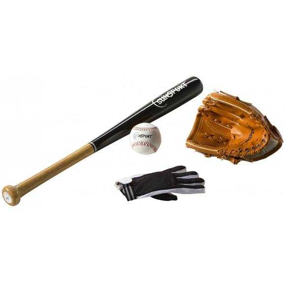 The Sunsport Baseball Bat Set with Glove Base Ball Bat and Base Ball. Perfect for use on hot sunny days with friends and family. A great summer game to be enjoyed. Available at Novel Idea Online. Free Shipping on all Orders.