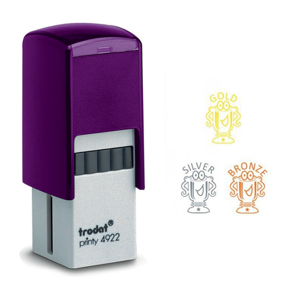 The Trodat Printy 4922 Model is a fantastic stampers and this Teacher Motivation Stamper Set includes 3 of them, imprinting 3 different motivational trophies for the classroom. Great as an educational aid to help motivate students to improve their accademic performance. Available at Novel Idea Online. Free Shipping on all orders