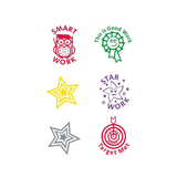 This image displays the 6 different stamps available in the selection box, they include: Smark Work, This is Good Work, Star Work, Target Met and Two Stars in Gold and Silver. Available at Novel Idea Online. Free Shipping on all Orders.