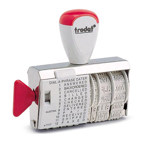 Here is Trodat's 1117 otherwise known as its Dial-A-Word Stamper. The Stamp comes with 12 different phrases that can be interchanged with the date for efficient administrative stamping, saving countless office hours and helping to keep the workplace organized. Available at Novel Idea Online. Free Shipping on all Orders.