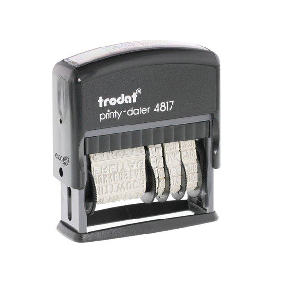 The Trodat Printy-Dater 4817 comes with 12 frequently used phrases: Answered, Received, Entered, Back Ordered, E-Mailed, Paid, Cancelled, Checked, Shipped, Billed, Delivered and Faxed. Available at Novel Idea Online. Free Shipping on all Orders.