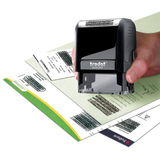 An example of the Trodat ID Protection Stamp in use. Perfect for administrative staff who need to make sure important data is protected. Available at Novel Idea Online. Free Shipping on all Orders.