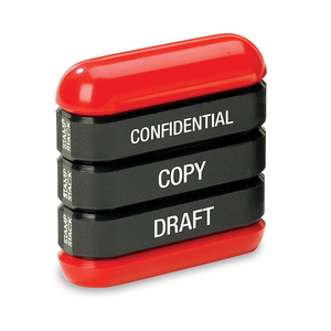 This Trodat Office Stamp Stack contains the imprints: Confidential, Copy and Draft. Fantastic for workplaces including Offices, School and Warehouses, even for acocuntants. Available at Novel Idea Online. Free Shipping on all Orders.