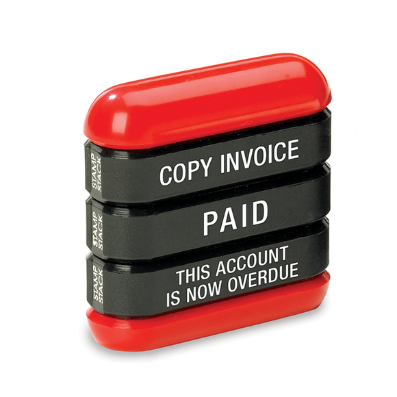This is the 3-in-1 Office Stamp Stack that has 3 popular imprints. These imprints are: Copy Invoice, Paid and This Account Is Now Overdue. Perfect for offices. Available at Novel Idea Online. Free Shipping on all Orders.