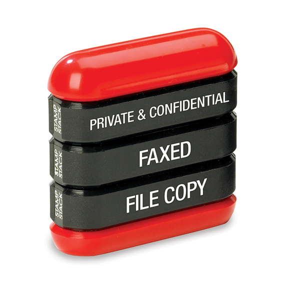 The Trodat 3-in-1 Office Stamp Stack that includes the imprints: Private & Cofidential, Faxed and File Copy. Suitable for numerous office environments. Available at Novel Idea Online. Free Shipping on all Orders.