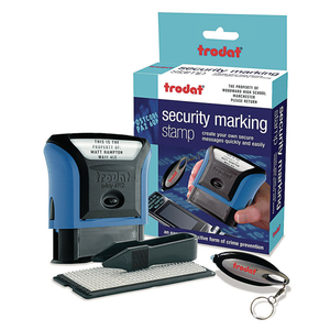 This is the Trodat Security Marking Stamp Set. The set helps protect your valuables from theft by marking it with Ultra Violet Ink. Perfect for protecting your electronics. Available at Novel Idea Online. Free Shipping on all Orders.